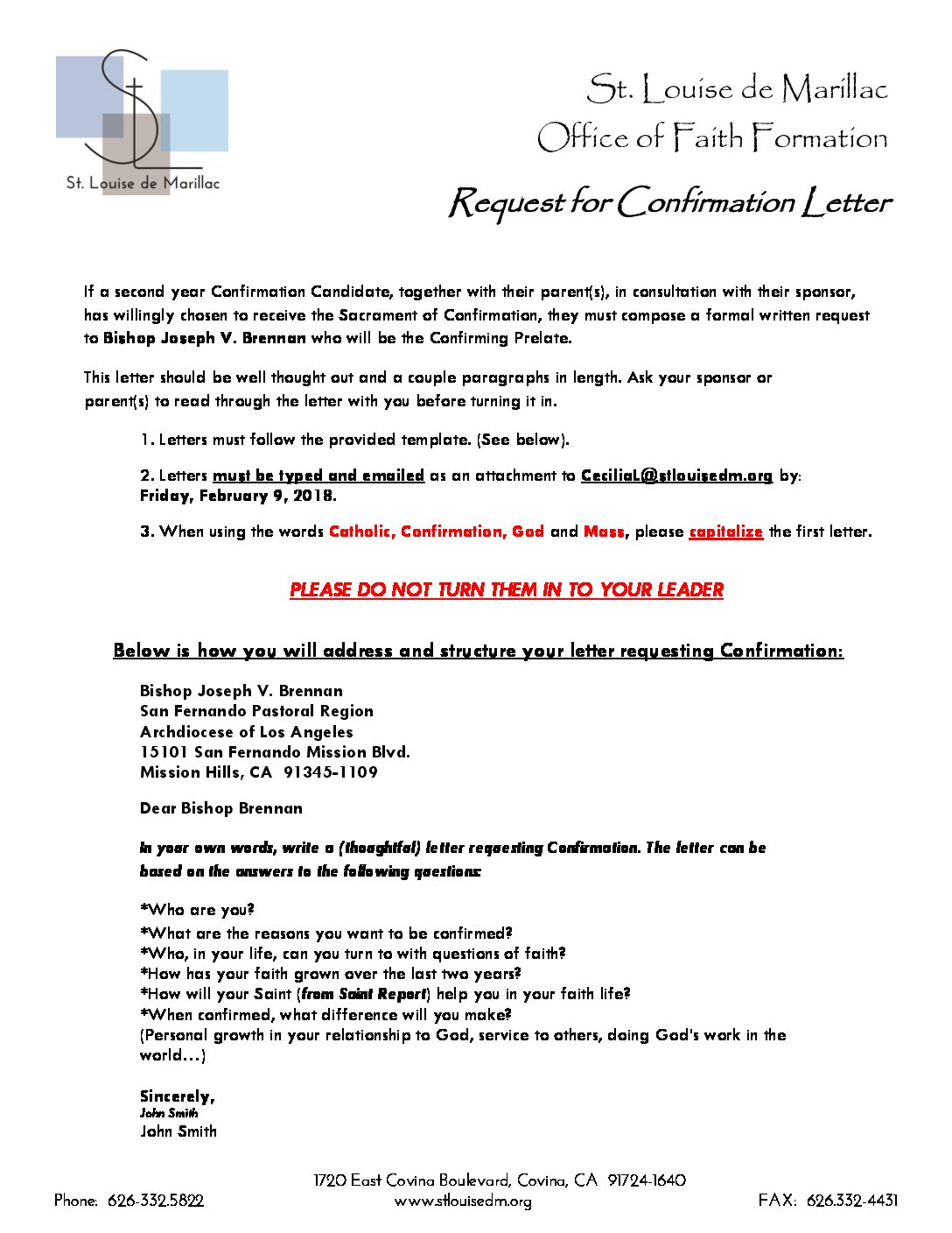 Confirmation-Letter-to-Bishop-Bishop-Brennan-2-pdf Sample Fundraising Letter Template on for churches, for small community activity,